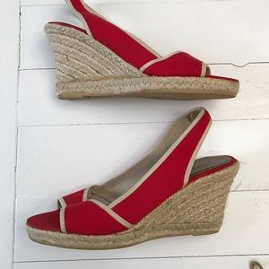J. Crew Canvas & Raffia Wedges NWOT